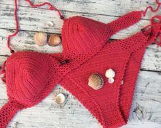 Artículos similares a Ganchillo Bikini triángulo Bikini Top mujeres traje de baño Bikini de talle alto inferior triángulo ganchillo traje de baño dos pieza STAYHIGHSWIMWEAR en Etsy