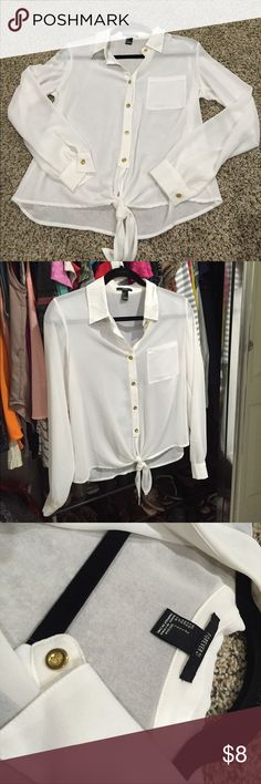 White chiffon blouse White button up chiffon blouse with gold buttons. Excellent condition Forever 21 Tops