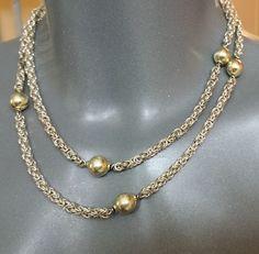 Vintage Halsschmuck - 900 Silber Königskette Halskette Kugelkette SK757 - ein…