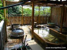 Gorgeous Outdoor Bathroom Design Ideas – DiyKnow – Y Nodu – japanesetubs Japanese Bath House, Japanese Spa, Japanese Bathroom, Japanese Style, Outdoor Baths, Outdoor Bathrooms, Outdoor Kitchens, Outdoor Rooms, Outdoor Living