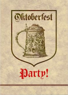Minimalist and straightforward Oktoberfest invitations. Customize with your own information on the back.