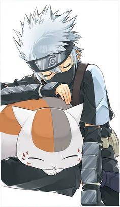 Kakashi and nyanko sensei from Naruto and natsume book of friends