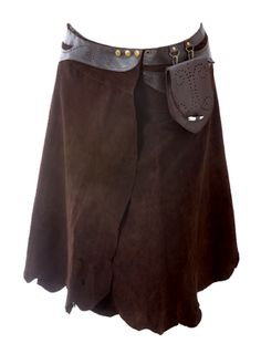 Primitive style, heavy suede skirt in cocoa brown.