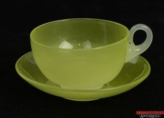 Rare Vintage Stevens and Williams Yellow Jade Color Cup and Saucer Opalescent