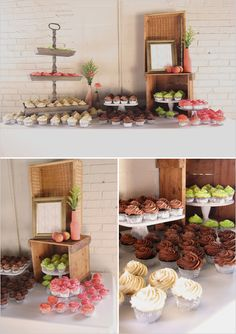 diy dessert table ideas .. cupcakes galore with photo of our wedding