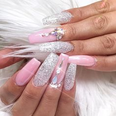 LOVE these nails by @nailsbythai  Magic White Chrome powder applied over pink for a soft pearlescence shine. Also uses our Stay Put & Stick On Gelly to adhesive the Swarovski crystals  Shop for featured nail accessories at DailyCharme.com