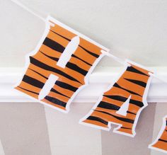 Tigger HaPPY BiRTHDAY Banner - Tiger print on WHITE Safari or Jungle black and orange