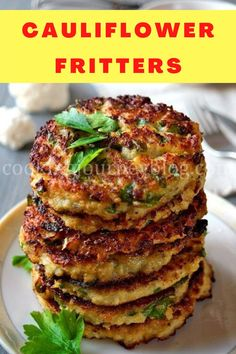 Easy breakfast idea! This is one of our favorite cauliflower recipes. Perfect way to eat more vegetables. #cauliflower #breakfast Best Cauliflower Recipe, Califlower Recipes, Cauliflower Fritters, Cauliflower Dishes, Healthy Breakfast Recipes, Brunch Recipes, Breakfast Ideas, Breakfast Cooking, Side Dish Recipes
