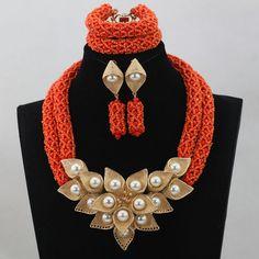 Luxury Coral Orange Beads Bridal Jewelry Set Dubai Gold Plated 18K African Jewelry Sets for Nigerian Wedding  Whatsapp:008613691301343