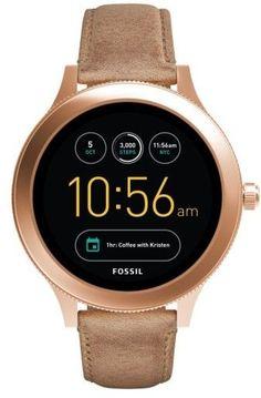 Women's Fossil Q Venture Gen 3 Leather Strap Smartwatch, 42Mm
