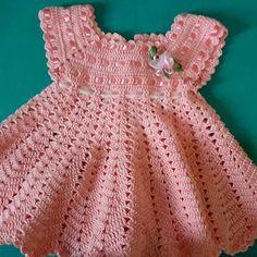 Crochet home vest for girl - Crochet Dress Girl, Baby Girl Crochet, Crochet Baby Clothes, Crochet Baby Dress Pattern, Baby Dress Patterns, Baby Kind, Diy Dress, Baby Knitting, Easy