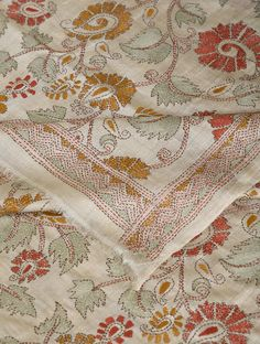 Embroidery Works, Embroidery Suits, Hand Embroidery Stitches, Diy Embroidery, Embroidery Patterns, Kantha Work Sarees, Indian Fabric, Silk Dupatta, West Bengal
