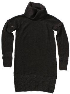 Lacoste Women`s Merino Wool Turtleneck Sweater Dress with Cable Knit Hem (Dark Jasper Grey) $211.00