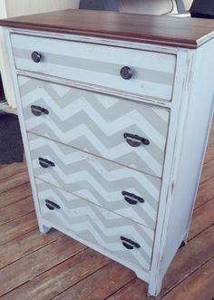painted my old dresser with a charcoal/ eggshell chevron pattern... tedious but worth it.