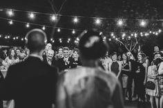 Festoon lighting + speeches = awesome. || Melissa Mills Photography