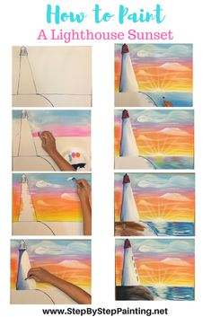To Paint A Lighthouse Sunset How To Paint A Lighthouse Sunset. Step by step painting acrylic canvas tutorials by Tracie Kiernan.How To Paint A Lighthouse Sunset. Step by step painting acrylic canvas tutorials by Tracie Kiernan. Canvas Painting Tutorials, Easy Canvas Painting, Painting Lessons, Acrylic Painting Canvas, Diy Painting, Art Lessons, Painting & Drawing, Watercolor Paintings, Canvas Paintings