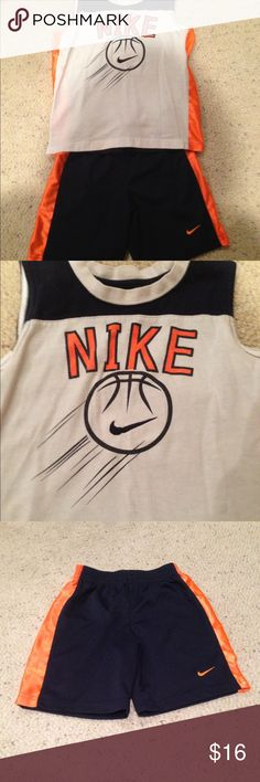 2 piece Nike outfit size 6 Still in very good condition. No damage. Blue shorts with orange accents and white tank top with orange & blue accents Nike Matching Sets