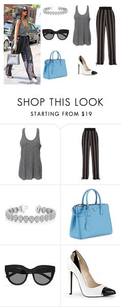 """""""Celebrity inspired outfit : Rihanna"""" by kaarlsson23 ❤ liked on Polyvore featuring Simplex Apparel, Tome, Allurez, Prada, Le Specs, outfit, grey and Rihanna"""