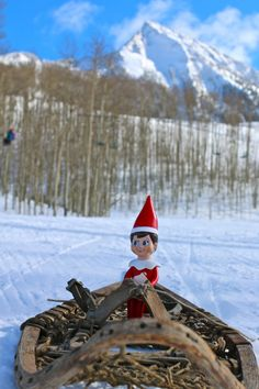 In the holiday spirit at work. The Elf on the Shelf even has eyes in the mountains. Alfonz out for a snowshoe #elfontheshelf #crestedbutte