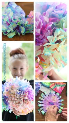 These coffee filter flowers get their amazing color from washable markers. These flowers are SO beautiful you won't believe hey are made from coffee filters! Craft Coffee Filter Flowers & Other Easy Coffee Filter Crafts - The Kitchen Table Classroom Kids Crafts, Summer Crafts, Creative Crafts, Craft Projects, Crafts For Seniors, Crafts For Girls, Paper Flowers Diy, Flower Crafts, Fabric Flowers
