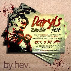 The WALKING DEAD ZOMBIE Zombies Halloween Party Invitation. $15.00, via Etsy.