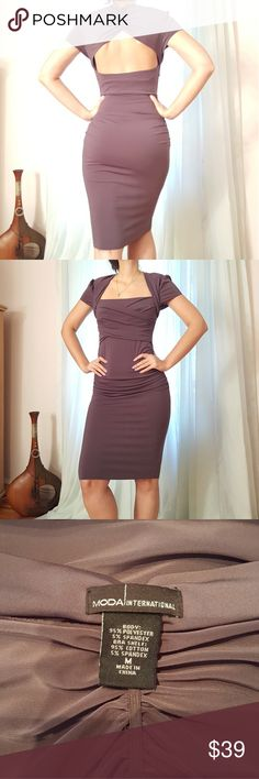 Dress Knee length, stretchy dress with somewhat open back. Color grey/violet. Size M. Worn, but no visible signs of wear, no tags. Moda International Dresses Midi