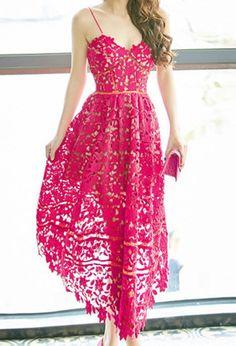 5c484f1a5a6ba1 Scarlet Lace Crochet Bustier Maxi Cocktail Christmas Dress