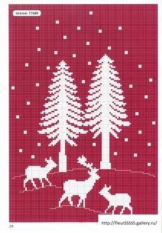 Deer and trees white on red fabric