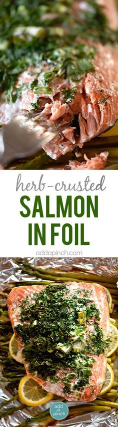 Herb Crusted Salmon in Foil Recipe - A quick and easy baked salmon recipe perfect for a busy weeknight or serving when company comes! A one pan meal that everyone loves made of asparagus, lemon, salmon, topped with an herb crust and baked until tender and delicious! // addapinch.com