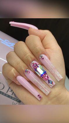 Acrylic Nails Coffin Pink, Long Square Acrylic Nails, Coffin Nails, Dope Nail Designs, Cute Acrylic Nail Designs, Glam Nails, Pink Bling Nails, Drip Nails, Exotic Nails