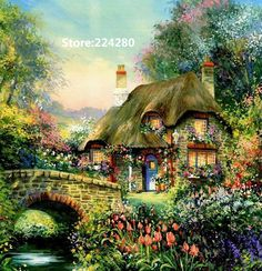 Needlework,for embroidery,DIY DMC Forest home villa painting scenery Cross stitch kits,Art Pattern counted Cross-Stitching decor