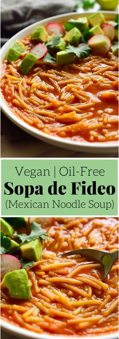 Sopa de fideo, a Mexican noodle soup in a tomato-based broth. This simple and frugal soup does not skimp on flavour and is just what you need to warm you up on a chilly afternoon! #vegan #soup #mexican