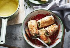 The Italian word 'involtini' refers to small bites of food rolled in a thin wrapper of meat or veggies. Try this veal version that packs a lot of flavour!