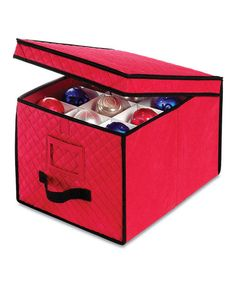 Look what I found on #zulily! Red & Black Quilted Ornament Storage Box #zulilyfinds