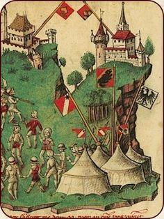 Die Schlacht bei Arbedo, 1422. Kolorierte Federzeichnung.
