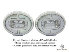 "Crystal Quartz + Mother of Pearl Sterling Silver Cufflinks, Rhodium plated, Prestige Model ""Bring prestige, recognition and success + Create glamorous aura and attract wealth"" *** Combine 2 Gemstone Powers to double your LUCK ***"