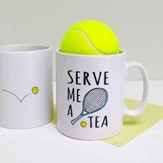 'serve me a tea' tennis mug by love give ink | notonthehighstreet.com