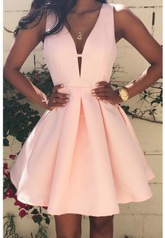 Barato 2016 nova moda mulheres sexy profundo Decote Em V sem costas vestido casual magro túnica sem mangas mini vestidos de festa rosa plus size, Compro Qualidade Vestidos diretamente de fornecedores da China: