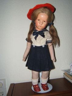 Kaethe-Kruse-Ilsebill-Puppe-VIII-Stoffkopf-1940er-J-51cm-gross-Originalzustand