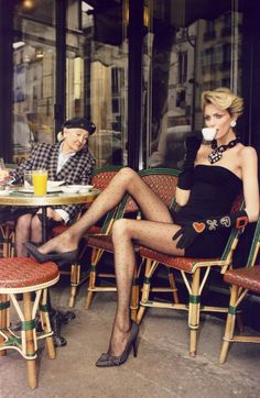 ' It is time to put back your stockings. And your leggings…Elans of sexy fantasy and resille humor, the pimps, the feminitee. And this, is PARIS !  - A Toutes Jambes. Photographer: Terry Richardson, Vogue