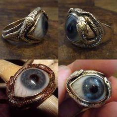 The great frog eyeball ring, custom made in the late with a real used Georgian glass eye. Deathrock Fashion, Sunflower Ring, Fashion Accessories, Fashion Jewelry, Unusual Rings, Evil Eye Jewelry, Bizarre, Things To Buy, Fancy