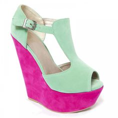 Lurve these color shock wedges. perfect mint green and bubble pink