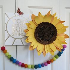 Giant paper sunflower wall art floral decor by valeriepaperie