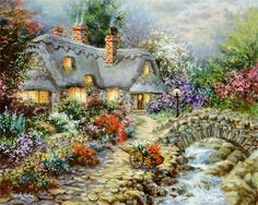 Nicky Boehme Solid-Faced Canvas Print Wall Art Print entitled Country Cottage, None Art Painting, Landscape Paintings, Painter, Painting, Beautiful Paintings, Cottage Canvas Art, Cottage Art, Canvas Art, Beautiful Art