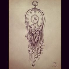 Time waits for no one.  #art #drawing #shading #tattoo #melting #clock #illustration #sketch #time
