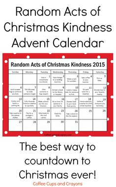 Updated for 2015! Free printable Random Acts of Kindness Advent Calendar is the BEST way to countdown to Christmas! We are definitely doing this one--blank calendar and non-Christmas version to download too!