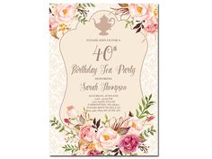 Fall Autumn Birthday Tea Party Invitation  Vintage Floral