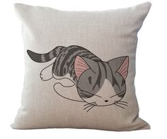 Meet Tommy. He looooooves to sleep. In fact, he barely moves his head to eat. The only thing that really gets him moving is some catnip... Cat throw pillows for cat lovers!