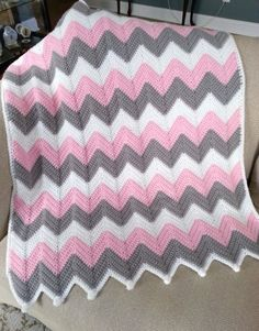 ❤💚💙READY TO SHIP❤💚💙 This blanket is done in soft worsted weight acrylic yarn in baby pink, white, and gray. Its done in a single crochet ripple stitch and measures 30 x This would be a fantastic shower gift! New moms and babies LOVE handmade blanke Crochet Ripple Blanket, Baby Girl Crochet Blanket, Chevron Baby Blankets, Chevron Blanket, Knitted Baby Blankets, Baby Girl Blankets, Chevrons Au Crochet, Chevron Crochet Patterns, Crochet Blanket Patterns