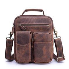 Vintage Leather Small Messenger Bag Shoulder Bag Handbag For Men